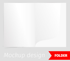 Folder realistic mockup design, blank white paper, realistic rendering, isolated on grey background, copyspace for text, sheet template for menu, booklet or presentation data, vector illustration