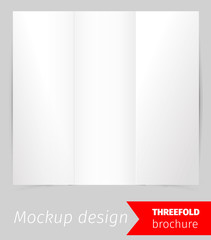Tree fold brochure mockup design, blank white paper, realistic rendering, isolated on grey background, copyspace for text, sheet template for menu, booklet or presentation data, vector illustration