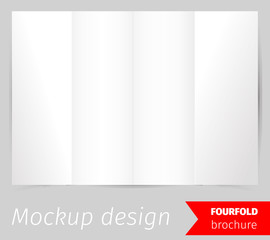 Fourfold brochure mockup design, blank white paper, realistic rendering, isolated on grey background, copyspace for text, sheet template for menu, booklet or presentation data, vector illustration