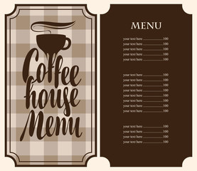 Vector coffee house menu template with price list and cup on a checkered background