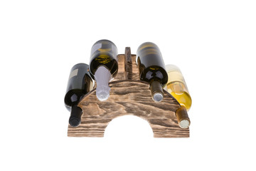 Wooden wine rack isolated on white background.