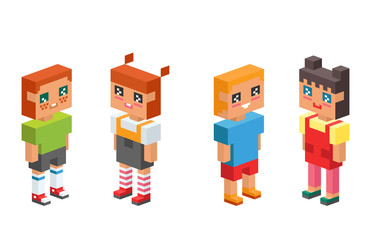3d isometric children kids people concept flat icons together vector square illustration m female male