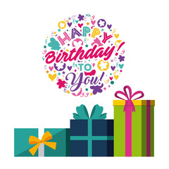 happy birthday card with gift boxes over white background. colorful design. vector illustration