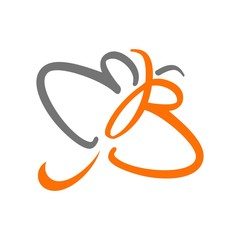 butterfly logo vector. e and b logo.