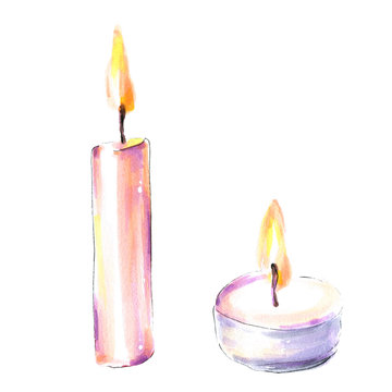 Candles. Watercolor