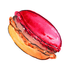 Watercolor sweet baked dessert macaroon almond cookie isolated