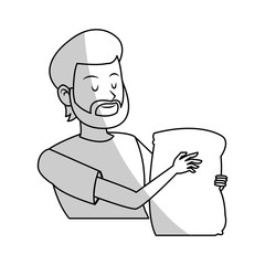 man holding a bag cartoon icon over white background. vector illustration