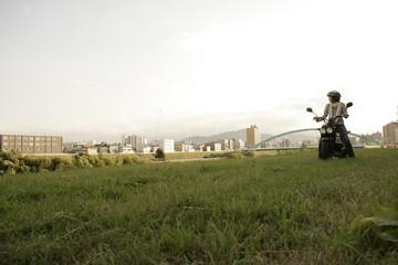 Biker in the field