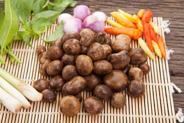 Thai puff ball mushroom soup with tamarind leaves ,Barometer Earthstars, hygroscopic earthstar, false earthstar,(Astraeus hygrometricus) ,mushroom