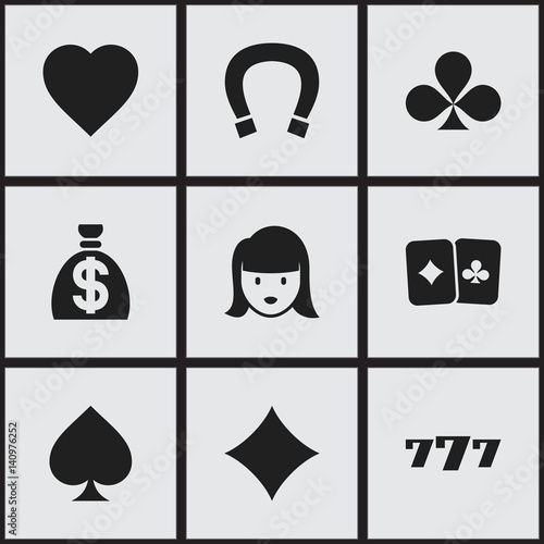 Set Of 9 Editable Casino Icons Includes Symbols Such As Luck Charm