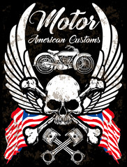 Motorcycle Poster Skull Tee Graphic Design