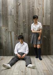 A teenage school couple