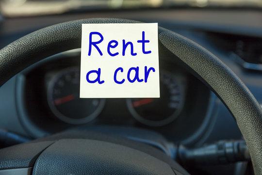 Rental Car Concept On Steering Wheel