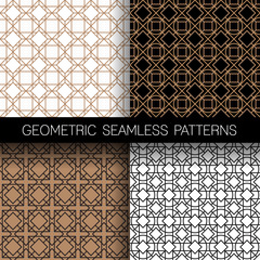 Set of geometric seamless patterns background