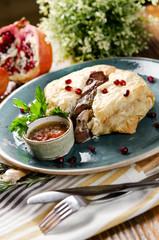 Pilaf in bread with lamb. Traditional Azerbaijani dish