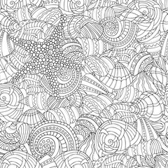 Seamless pattern. Sea shells collection
