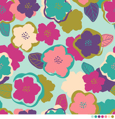 Abstract flower and leaf pattern background