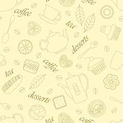 Светло-жёлтый бесшовный узор с линейным изображением разной выпечки, чая, кофе и слов между ними.