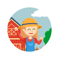 farmer woman happy in circle background