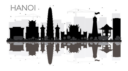 Hanoi City skyline black and white silhouette with reflections.