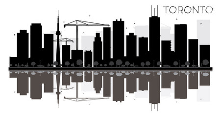 Toronto City skyline black and white silhouette with reflections.
