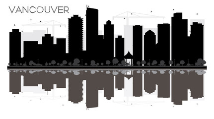 Vancouver City skyline black and white silhouette with reflections.