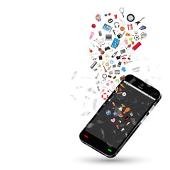 smartphone with many shopping objects floating on a white background