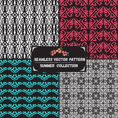 Seamless abstract vector pattern ethnic tribal Boho style summer collection