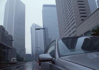 Rainy Building Street