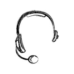 monochrome sketch of hands free headset icon vector illustration