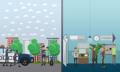 Robber caught vector illustration in flat style
