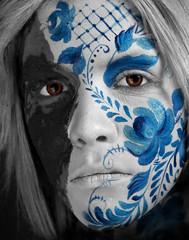 face art style Gzhel