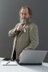 Elderly man businessman.