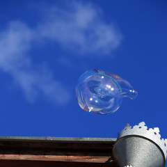 weightless clouds, bubbles and downpipe