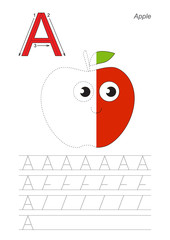 Half trace game for letter A. Funny apple.