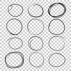 Set of the hand drawn scribble circles. Vector element. Illustration on isolated background.