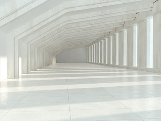 White architecture background. Abstract architectural interior. 3D rendering.