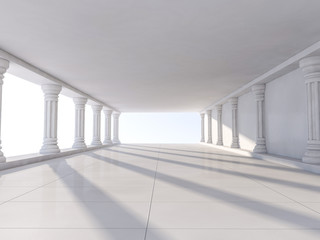 Classic Ancient Interior with Columns. 3D rendering