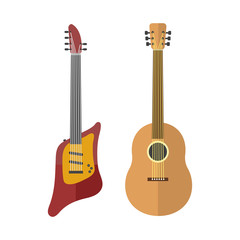 Guitar icon stringed electric musical instrument classical orchestra art sound tool and acoustic symphony stringed fiddle wooden vector illustration.