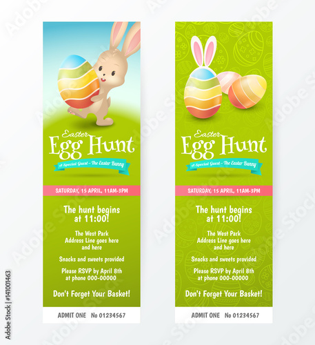 Set Of Tickets For Easter Egg Hunt With Colored Eggs And Cute Rabbit