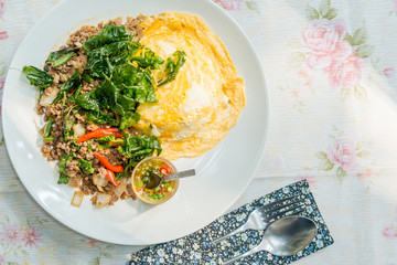 Stir Fried Pork with Omelet popular delicious Thai food