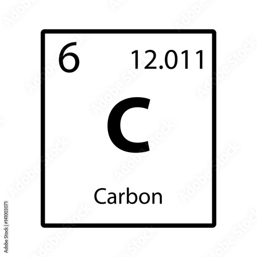 Carbon Periodic Table Element Icon On White Background Vector Stock