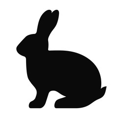 Black side silhouette of a rabbit isolated on white background. Vector illustration. EPS10
