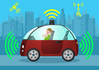 relaxed driver in autonomous vehicle, self driving car, sensing and wireless communication