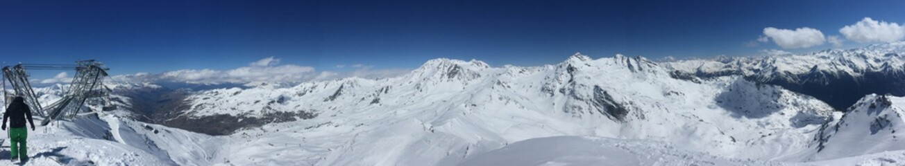 Panorama of french alps in Val Thorens France