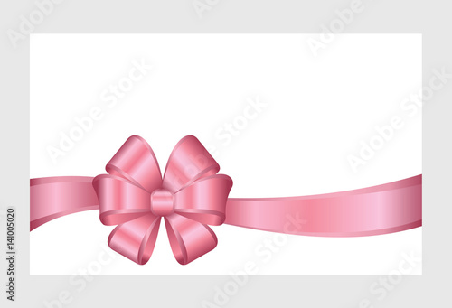 Gift certificate gift card with pink ribbon and a bow isolated on gift certificate gift card with pink ribbon and a bow isolated on white background yadclub Image collections