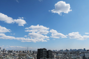 Tokyo cityscape blue sky