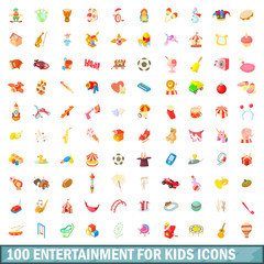 100 entertainment for kids icons set