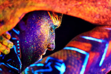 close up UV male portrait