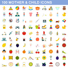 100 mother and child icons set, flat style